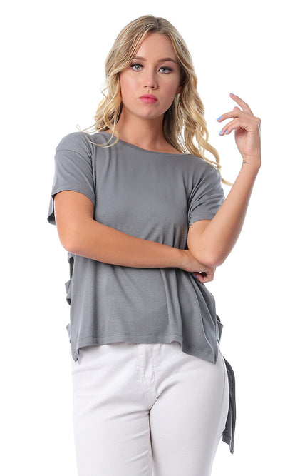 53640 Open Sides Hi-Low Dark Grey Top