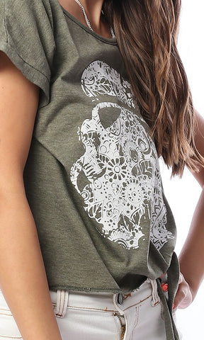 53649 Taking Chances Printed Front Tie Olive Tee