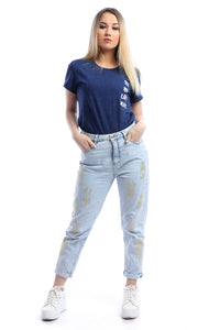 53650 See You Never With Colorful Heather Slogan T-shirt - Navy Blue
