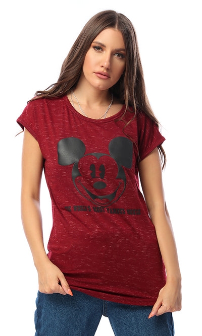 53652 Mickey Mouse Printed Tee Burgundy