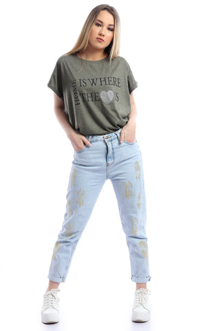 53656 Home Is Where The Heart Is Olive Slogan T-shirt