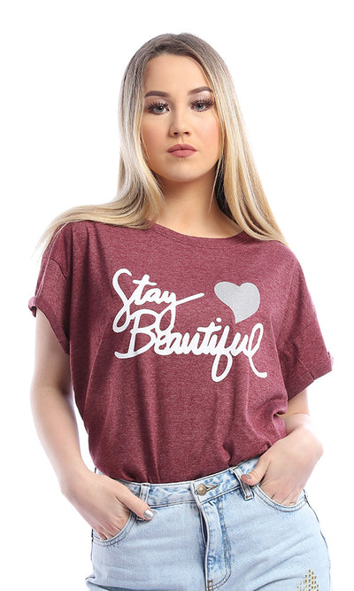 53657 Stay Beautiful-Heather Burgundy Printed T-shirt