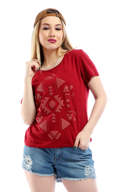 53669 Hi-Low Round Neck Slip On Burgundy T-shirt