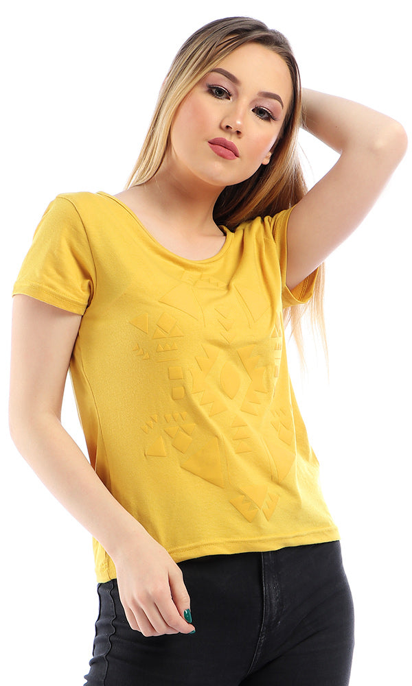 Hi-Low Short Sleeves Printed T-Shirt - Mustard