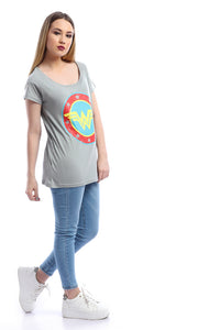 53672 Wonder Woman Pleasant Surprise Grey Tee