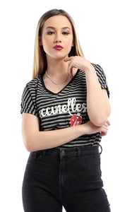 53682 Coccinelles -Striped Loose Short Sleeves Black T-shirt