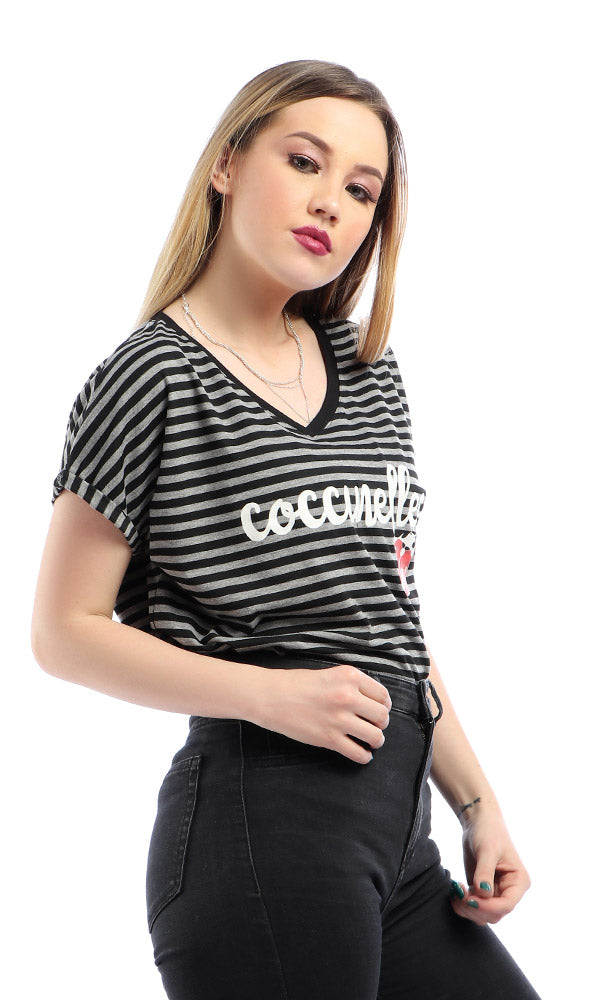 """ Coccinelles "" Striped Loose Short Sleeves Black T-shirt"