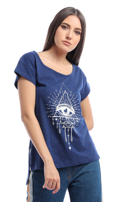 53686 Eye Of Providence Colorful Heather T-Shirt - Dark Blue