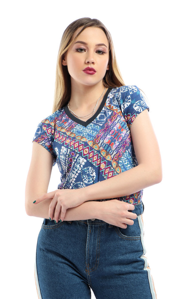 Colorful Patterns Cap Sleeves Dark Steel Blue T-Shirt