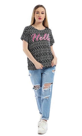 53695 Printed  Hello  Patterned Loose Black T-shirt