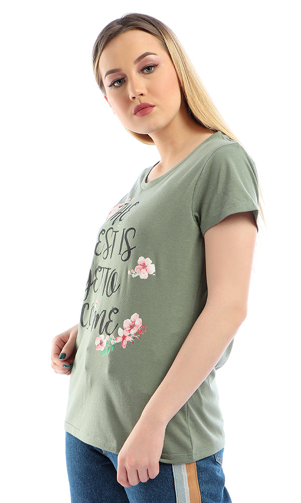 """The Best Is Yet To Come "" Floral Short Sleeves T-shirt - Olive"