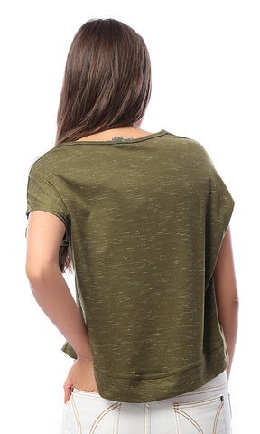 53703 LOST Oversized Cropped Olive Tee