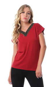 53705 Shiny Studded V-Neck Burgundy T-shirt
