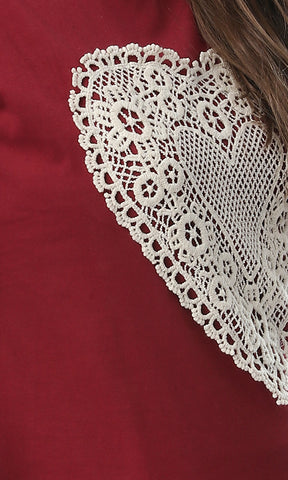53708 Stitched Crochet Short Sleeves White T-shirt