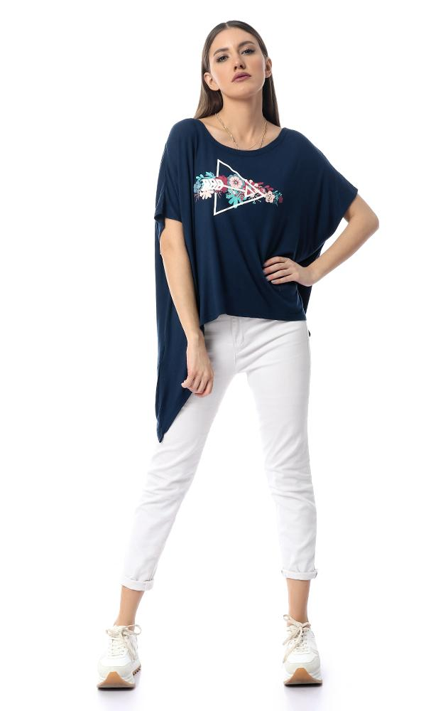 53709 Printed Long Sides Loose Top With Back Lace Up - Navy Blue - Ravin