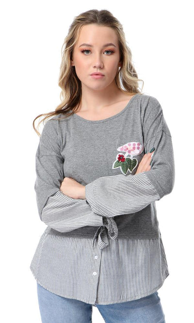 53719 Flamingo Patch T-shirt With Striped Touch - Heather Grey