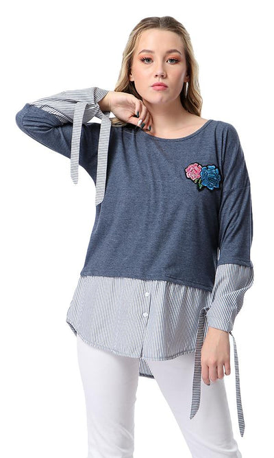 53720 Long Sleeves T-shirt With Striped Touch - Heather Steel Blue