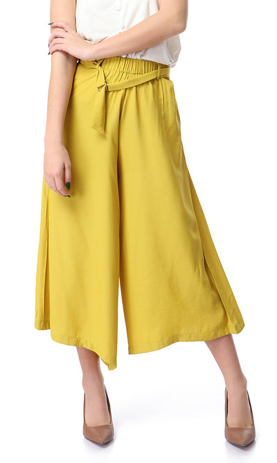 53724 Solid Slip On Mustard Midi Leg Pants