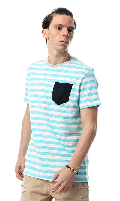 53764 Stripe Fashionable Blue & White Tee