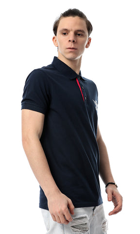 53779 Turn Down Collar Elegant Navy Blue Polo Shirt