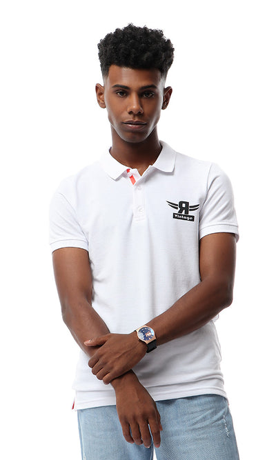 53781 Buttoned Short Sleeves Polo Shirt - White