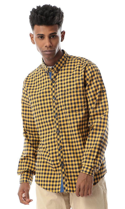 53832 Plaided Buttoned Mustard Casual Shirt