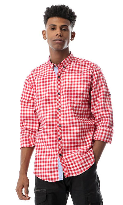 53833 Buttoned Checkered Red Full Sleeves Shirt