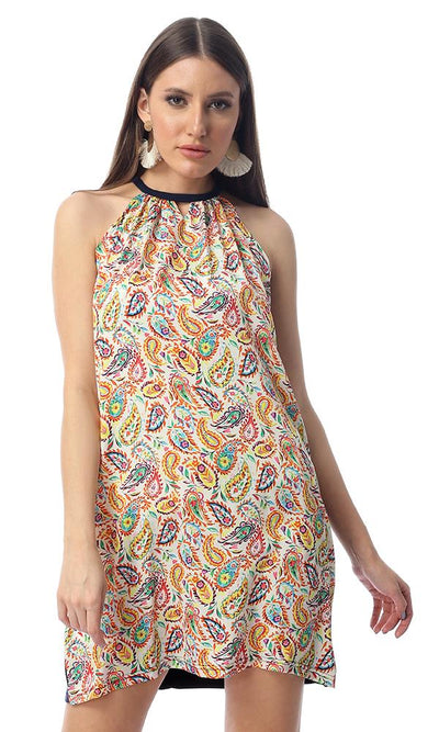 53850 Colorful Paisley Sleeveless Short Dress - Multicolour - Ravin
