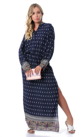 Patterned Long Sleeves Navy Blue Maxi Dress With Slits