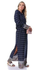 53855 Patterned Long Sleeves Navy Blue Maxi Dress With Slits