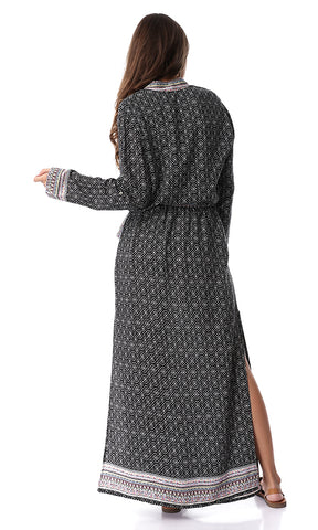 Patterned Maxi Open Sides Dress Black