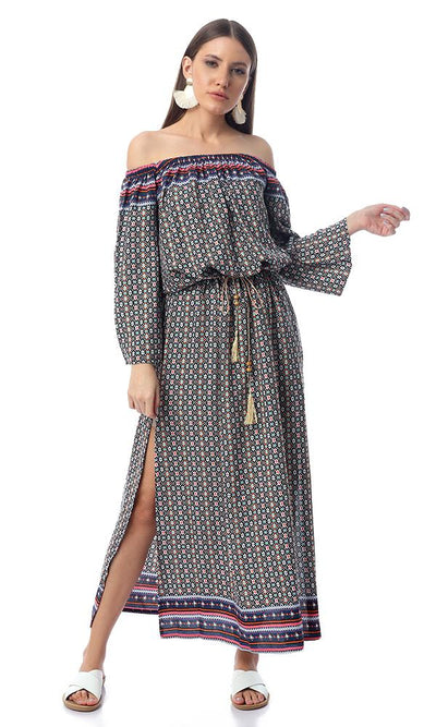 53858 Patterned Off-Shoulders Multicolour Maxi Dress With Slits - Ravin