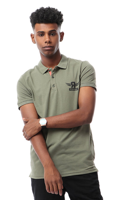 53911 Solid Short Sleeves Buttoned Polo Shirt - Olive