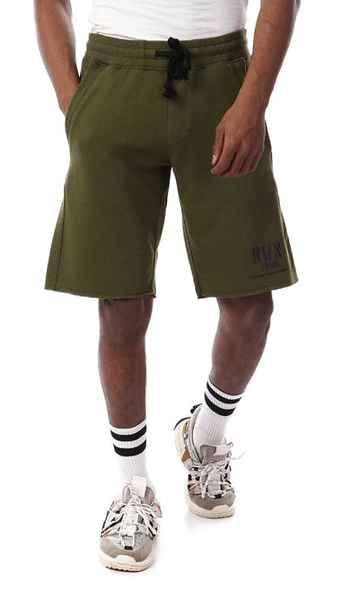 53916 Solid Olive Summer Short With Drawstring - Ravin
