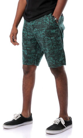 Random Pattern Dark Green Chambray Shorts