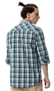 53925 Checked Flannel Green & Blue Shirt