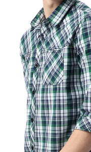 Checked Flannel Green & Blue Shirt