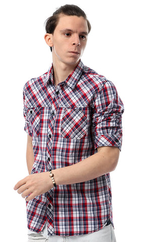 53926 Oxford Stylish Buttoned Blue & Red Shirt