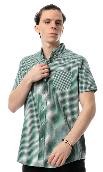 53927 Short Sleeves Plaids Casual Green Shirt