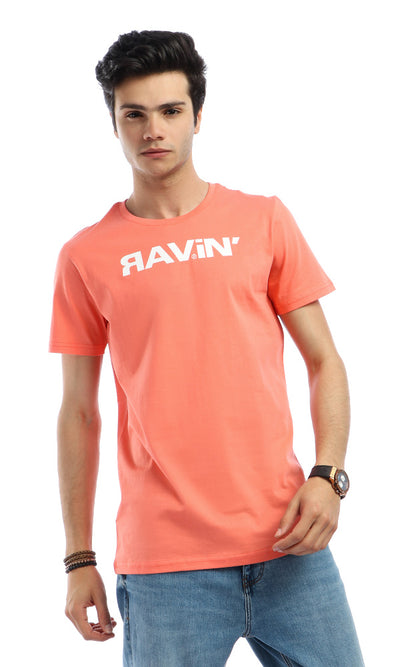 53941 Ravin-Printed Summer Round Neck Coral Orange T-shirt