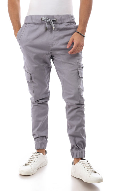 53953 Sides Pockets Regular Grey Cargo Pants