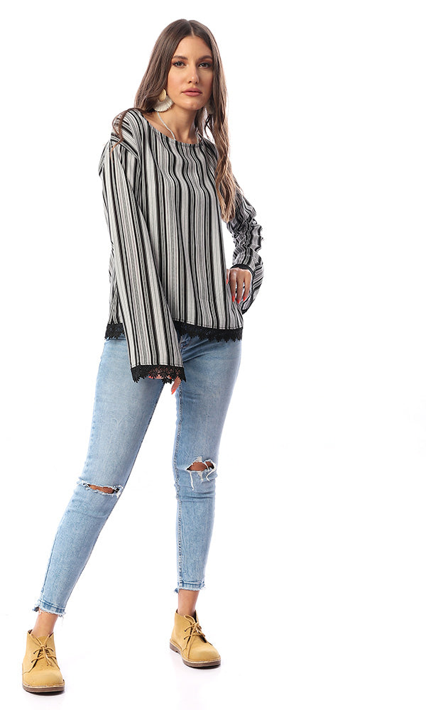 53982 Stripe Detailed Long Sleeves Black & White Top