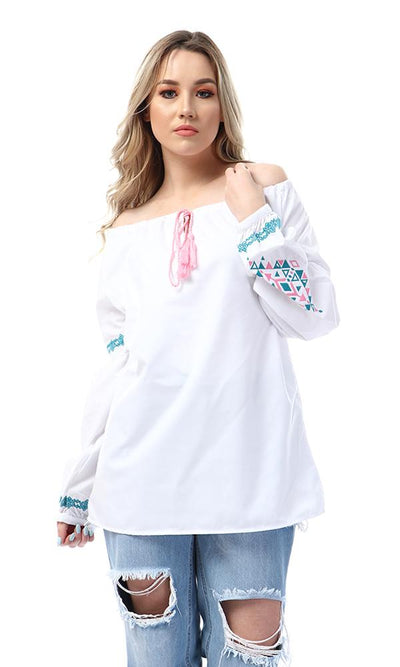 53984 Stitched Bell Sleeves Off White Blouse - Ravin
