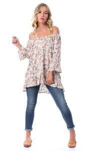 53987 Paisley Off-Shoulders Hi-Low Off-White Top