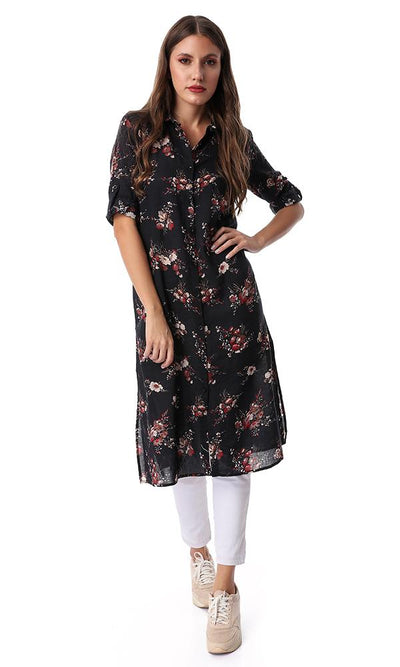 53993 Floral Long Length Buttoned Black Shirt - Ravin