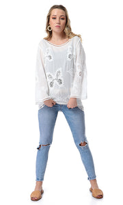 53996 Perforated Butterfly Full Sleeves White Top