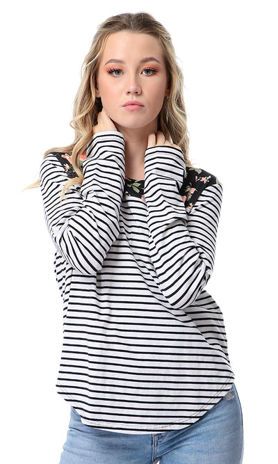 54007 Black & White Floral & Striped Long Sleeves T-shirt