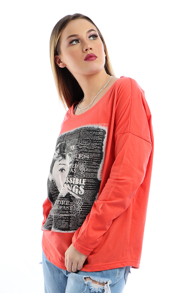 Round Neck Printed Long Sleeves Loose T-Shirt - Tomato
