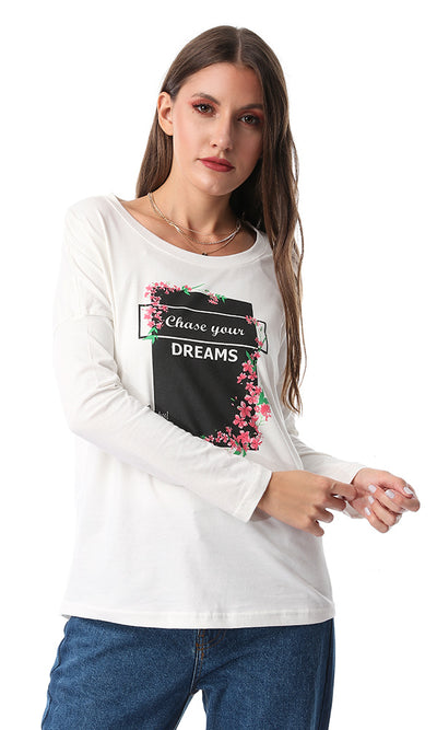 54012 Chase Your Dreams Printed Full Sleeves Tee Off White