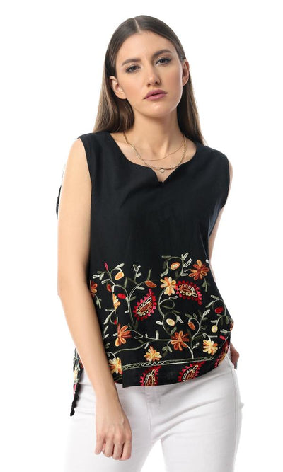 54035 Embrodiery Fashionable Black Sleeveless Top - Ravin